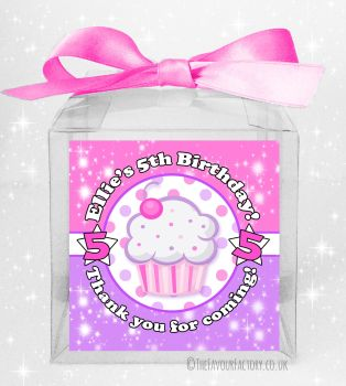 Kids Party Personalised Clear Sweet Treat Boxes Cupcake x5