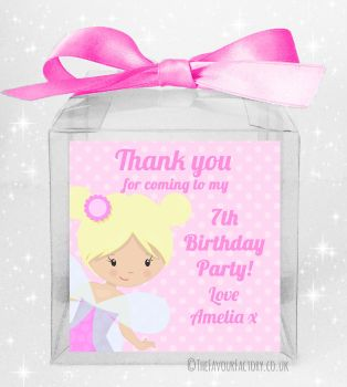 Kids Party Personalised Clear Sweet Treat Boxes Fairy x5