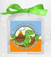 Kids Party Personalised Clear Sweet Treat Boxes Cute Dinosaur x1