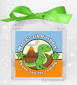 Kids Party Personalised Clear Sweet Treat Boxes Cute Dinosaur x5