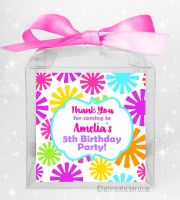 Kids Party Personalised Clear Sweet Treat Boxes Funky Flowers x1