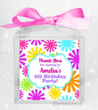 Kids Party Personalised Clear Sweet Treat Boxes Funky Flowers x5