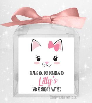 Kids Party Personalised Clear Sweet Treat Boxes Cat Face x5