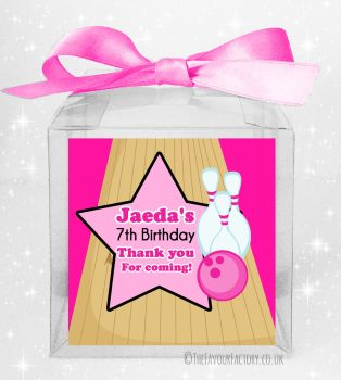 Kids Party Personalised Clear Sweet Treat Boxes Girls Bowling x5