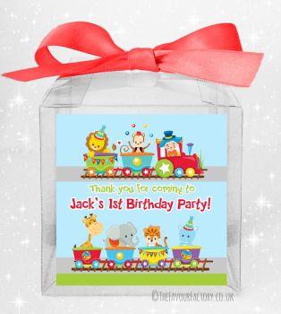 Kids Party Personalised Clear Sweet Treat Boxes Circus Animal Train x5