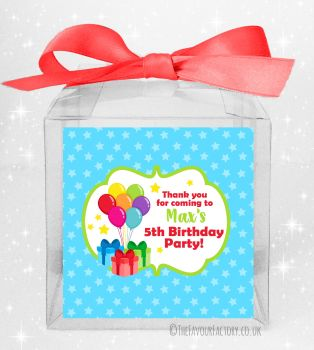 Kids Party Personalised Clear Sweet Treat Boxes Bunch of Balloons x5