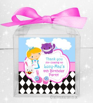 Kids Party Personalised Clear Sweet Treat Boxes Alice in Wonderland x5
