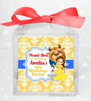 Kids Party Personalised Clear Sweet Treat Boxes Beauty and the Beast x1
