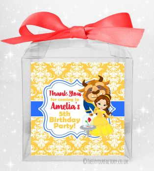 Kids Party Personalised Clear Sweet Treat Boxes Beauty and the Beast x5