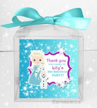 Kids Party Personalised Clear Sweet Treat Boxes Frozen Snow Princess x5