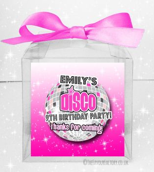Kids Party Personalised Clear Sweet Treat Boxes Girls Disco x5