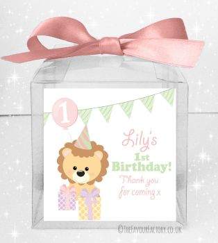 Kids Party Personalised Clear Sweet Treat Boxes Girls Party Lion x5