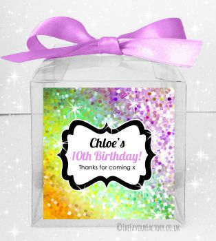 Kids Party Personalised Clear Sweet Treat Boxes Sparkle Yellow to Purple x5