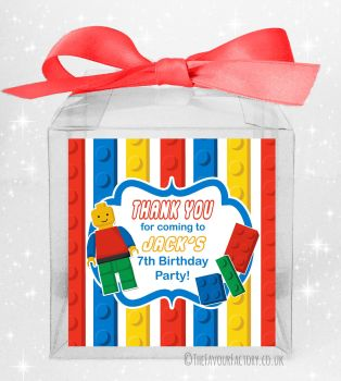 Kids Party Personalised Clear Sweet Treat Boxes Lego x5