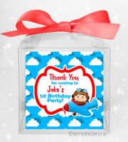 Kids Party Personalised Clear Sweet Treat Boxes Little Pilot Flying x1