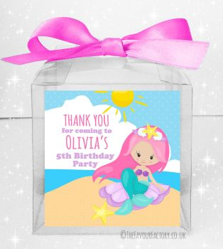 Kids Party Personalised Clear Sweet Treat Boxes Mermaid on Beach x5