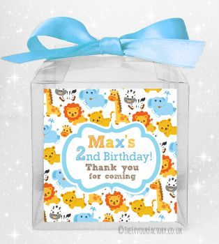Kids Party Personalised Clear Sweet Treat Boxes Jungle Animals Boys x5