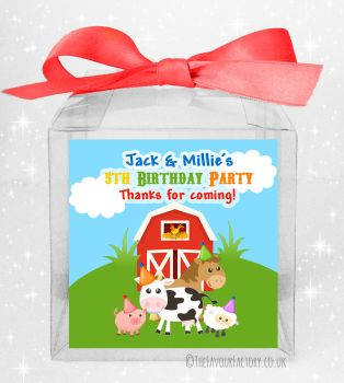 Kids Party Personalised Clear Sweet Treat Boxes Farmyard Friends x5