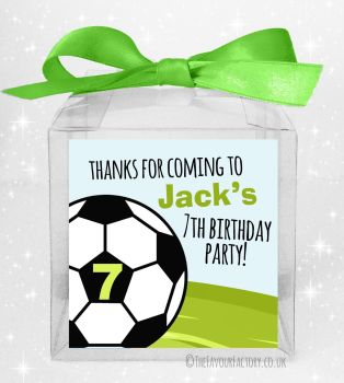 Kids Party Personalised Clear Sweet Treat Boxes Football Age x5