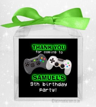 Kids Party Personalised Clear Sweet Treat Boxes Gaming x5