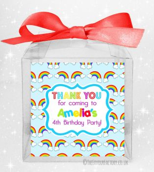 Kids Party Personalised Clear Sweet Treat Boxes Lots of Rainbows x5