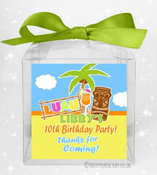 Kids Party Personalised Clear Sweet Treat Boxes Luau x5
