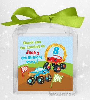 Kids Party Personalised Clear Sweet Treat Boxes Monster Trucks x5