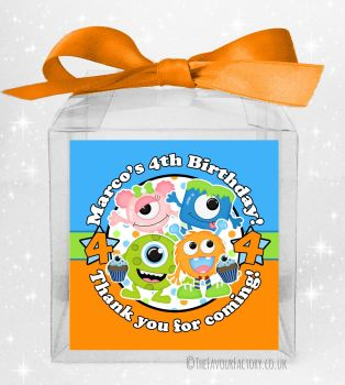 Kids Party Personalised Clear Sweet Treat Boxes Party Monsters x5
