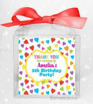 Kids Party Personalised Clear Sweet Treat Boxes Rainbow Whimsical Hearts x5