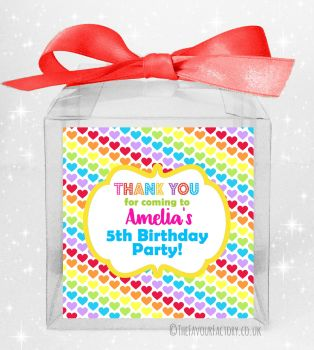 Kids Party Personalised Clear Sweet Treat Boxes Polka Dot Hearts x5