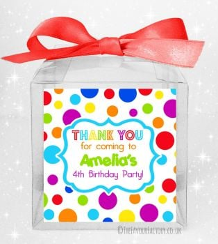 Kids Party Personalised Clear Sweet Treat Boxes Rainbow Circles x5