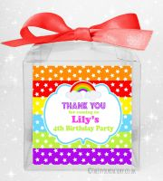 Kids Party Personalised Clear Sweet Treat Boxes Rainbow Stars & Stripes x1