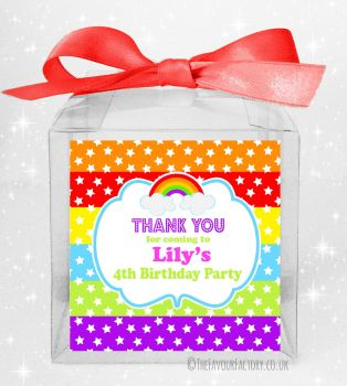 Kids Party Personalised Clear Sweet Treat Boxes Rainbow Stars & Stripes x5