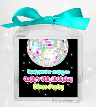 Kids Party Personalised Clear Sweet Treat Boxes Retro Disco x5