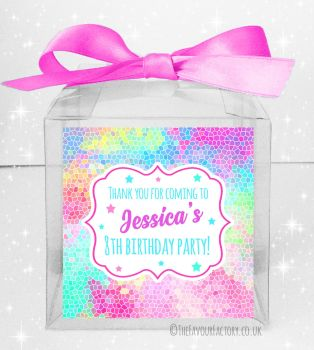 Kids Party Personalised Clear Sweet Treat Boxes Rainbow Mosaic x5