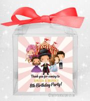 Kids Party Personalised Clear Sweet Treat Boxes Greatest Showman x1