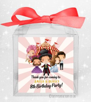 Kids Party Personalised Clear Sweet Treat Boxes Greatest Showman x5
