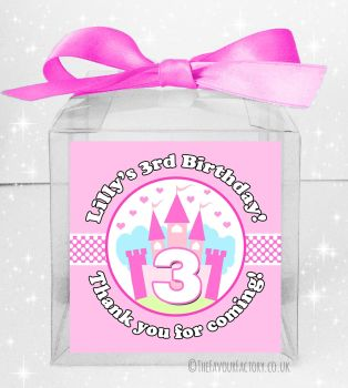 Kids Party Personalised Clear Sweet Treat Boxes Princess Castle x5