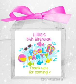 Kids Party Personalised Clear Sweet Treat Boxes Swimming Pool Party x5