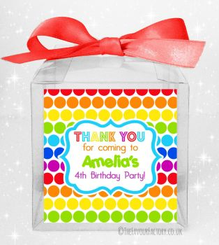Kids Party Personalised Clear Sweet Treat Boxes Polka Dot Rainbows x5
