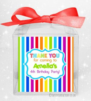 Kids Party Personalised Clear Sweet Treat Boxes Rainbow Stripes x5