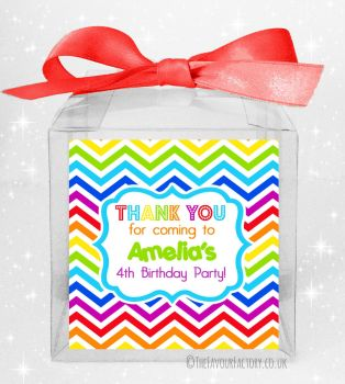 Kids Party Personalised Clear Sweet Treat Boxes Rainbow Zig Zags x5