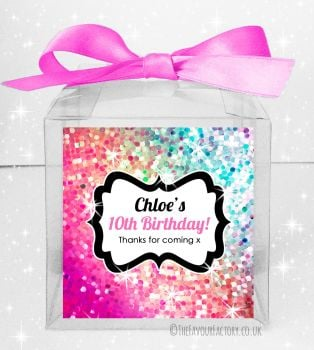 Kids Party Personalised Clear Sweet Treat Boxes Sparkle Pinks to Purples x5
