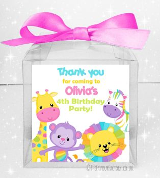 Kids Party Personalised Clear Sweet Treat Boxes Pastel Rainbow Animals x5