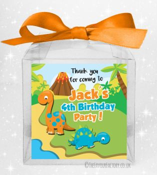 Kids Party Personalised Clear Sweet Treat Boxes Two Dinosaurs x5
