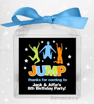 Kids Party Personalised Clear Sweet Treat Boxes Trampolining x5