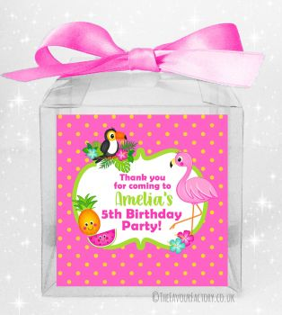 Kids Party Personalised Clear Sweet Treat Boxes Flamingo Tropical x5