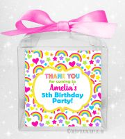 Kids Party Personalised Clear Sweet Treat Boxes Hearts and Rainbows x1