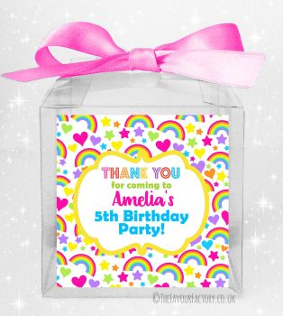 Kids Party Personalised Clear Sweet Treat Boxes Hearts and Rainbows x5