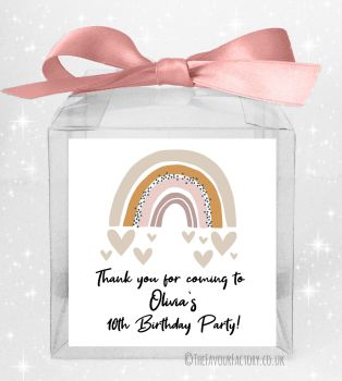 Kids Party Personalised Clear Sweet Treat Boxes Scandi Rainbow x5